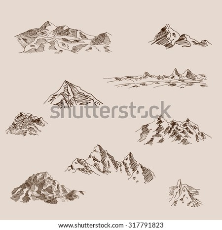 Set of mountain sketch illustrations
