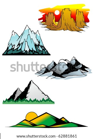 Set of mountain symbols for majestic design - also as emblem, such a logo. Jpeg version also available in gallery - stock vector