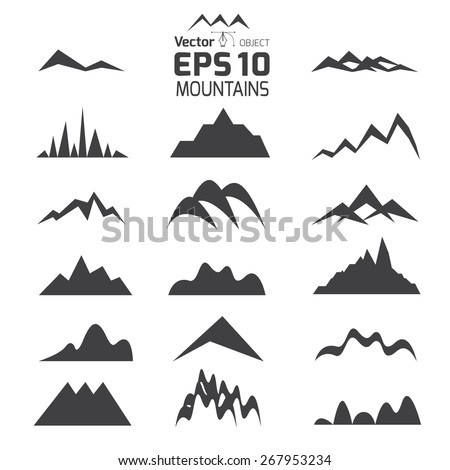 Set of mountains and hills - stock vector