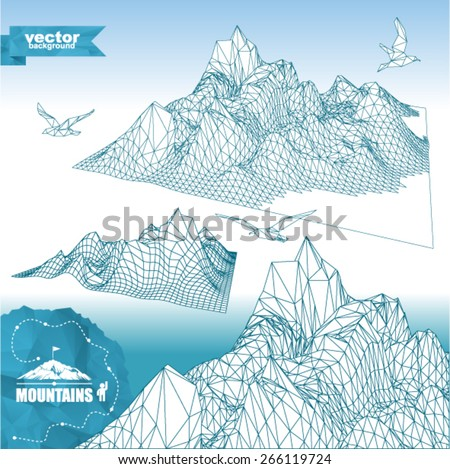 Set of  mountains 3D in polygonal style (illustration of a many triangles with birds and mountaineering route). Set of abstract high mountain. - stock vector