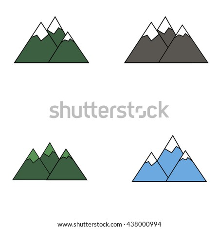 Set of mountains icons illustration - stock vector