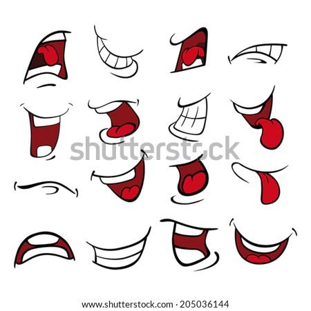 Set of mouths cartoon  - stock vector
