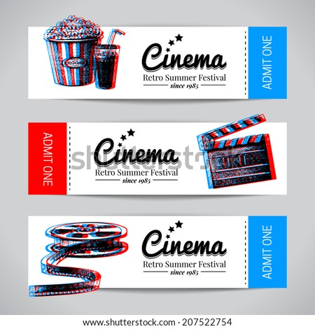 Set of movie banners. Cinema festival tickets with hand drawn sketch vector illustrations - stock vector