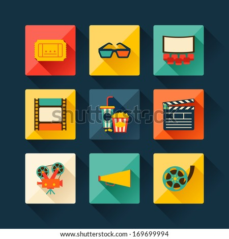 Set of movie design elements and cinema icons in flat style. - stock vector