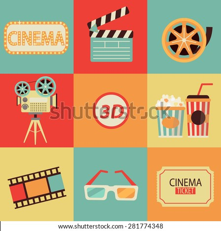 Set of movie design elements and cinema icons in flat style. Vector. - stock vector