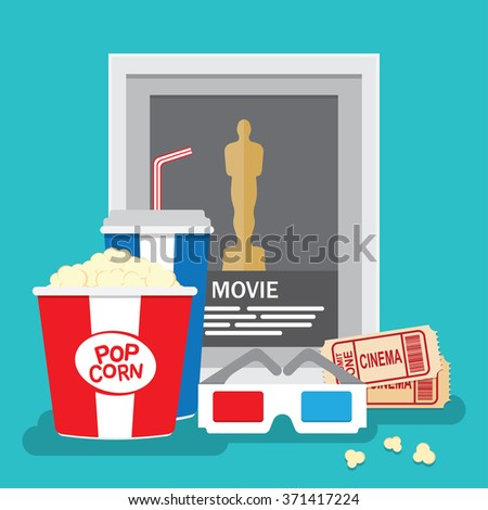 Set of movie design elements flat style. - stock vector