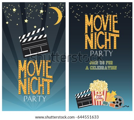 Set movie party invitation greeting cards stock vector hd royalty set of movie party invitation or greeting cards vector illustration stopboris Gallery
