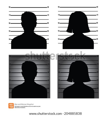 Set of mugshot or police lineup picture of anonymous man and woman silhouette - stock vector