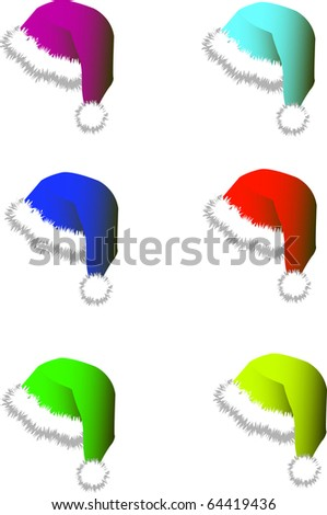 Set of multi-colored hats and caps for Santy. A vector illustration - stock vector
