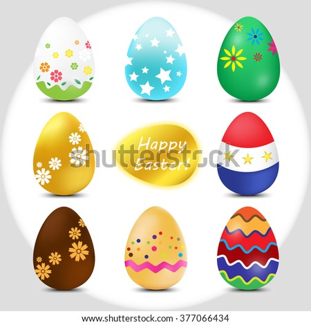 set of multicolor easter eggs. happy easter. Vector Illustration. - stock vector