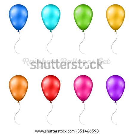 Set of Multicolored Balloons. Vector illustration. Glossy Balloons Collection. Balloons for Happy Birthday Greeting Cards Design, Festival Design - stock vector