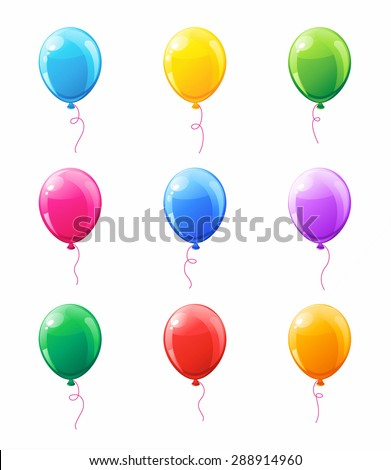 Set of multicolored balloons with ribbons