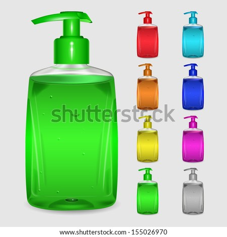 Set of multicolored bottles of liquid soap on white background - stock vector