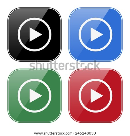 Set of multicolored buttons for mobile applications and web sites, black, blue, green, red.  play, vector, EPS 10 - stock vector