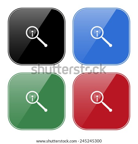 Set of multicolored buttons for mobile applications and web sites, black, blue, green, red. Search wi-fi network , vector illustration, EPS 10 - stock vector