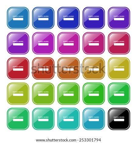 Set of multicolored buttons for the site. Buttons for mobile applications. energy saving battery , vector illustration, EPS 10 - stock vector