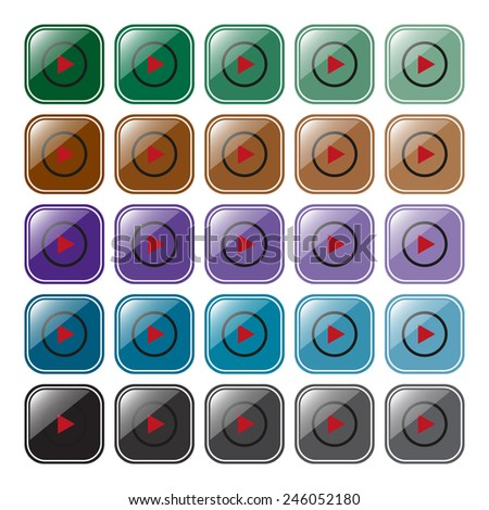 Set of multicolored buttons for web site and mobile applications play, vector, EPS 10
