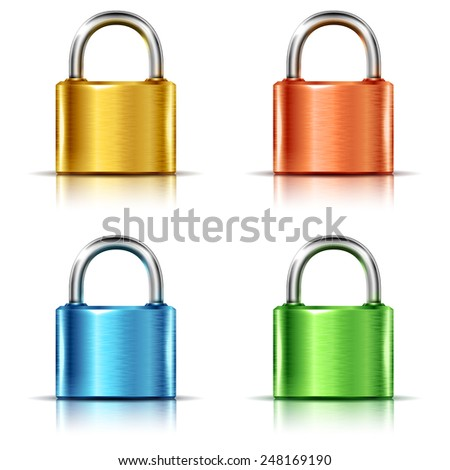 Set of multicolored closed padlocks, isolated on white - stock vector