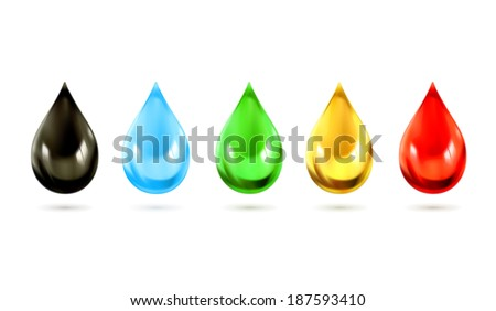 Set of multicolored droplets, vector icons - stock vector