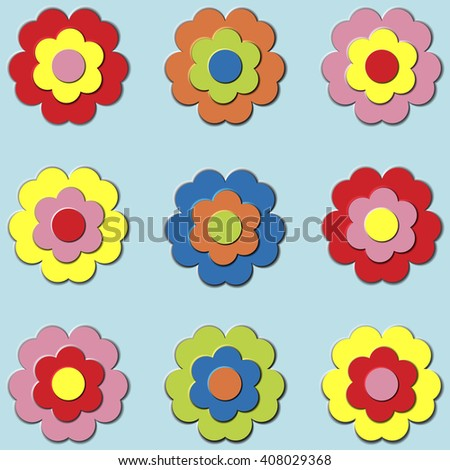 Set of multicolored flowers for applications - stock vector