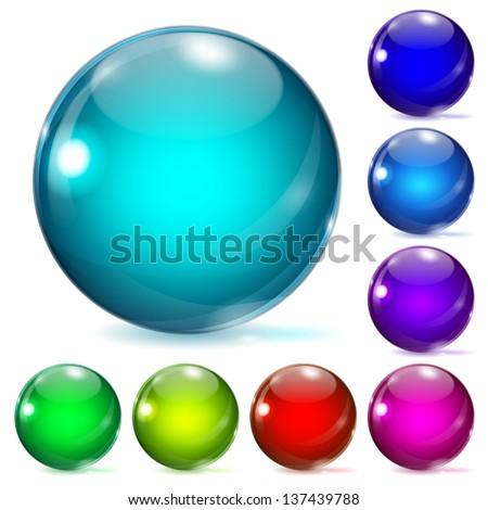 Set of multicolored glass spheres with shadows - stock vector
