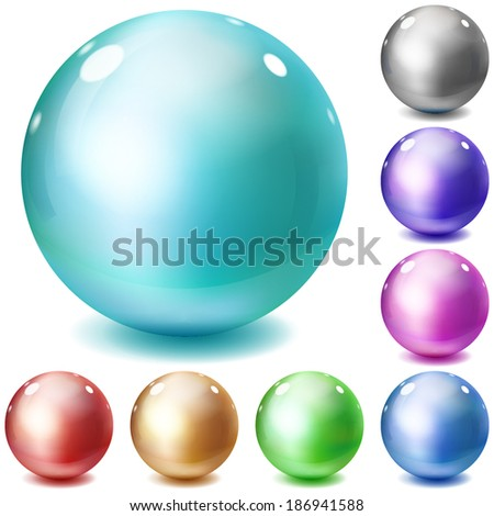 Set of multicolored glossy spheres with shadows on white background