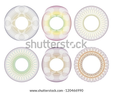Set of multicolored guilloche rosettes on a white background. - stock vector
