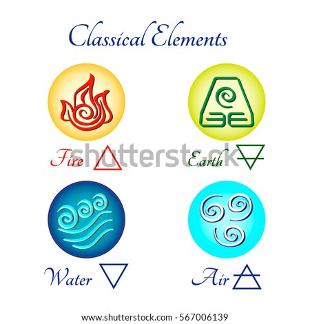 Set Multicolored Icons Classical Elements Fire Stock Vector 2018