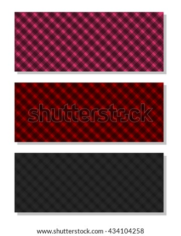 Set of multicolored plaid backgrounds for your design. Checkered backgrounds template. Vector illustration