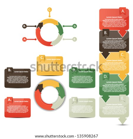 Set of multicolored presentation and reports