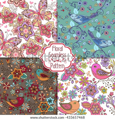 Set of Multicolored seamless patterns with birds, butterflies, flowers. Decorative ornament backdrop for fabric, textile, wrapping paper. - stock vector