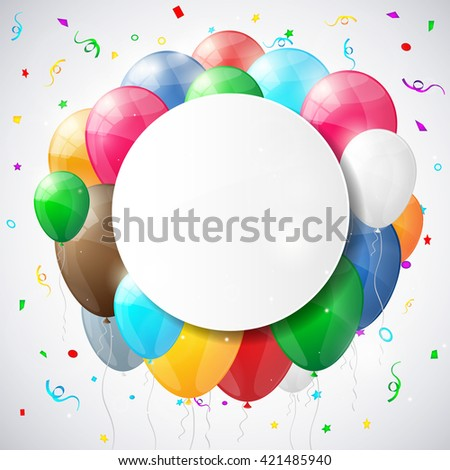 Set of multicolored shiny glossy balloons. Happy birthday background with balloons.. Vector illustration. - stock vector