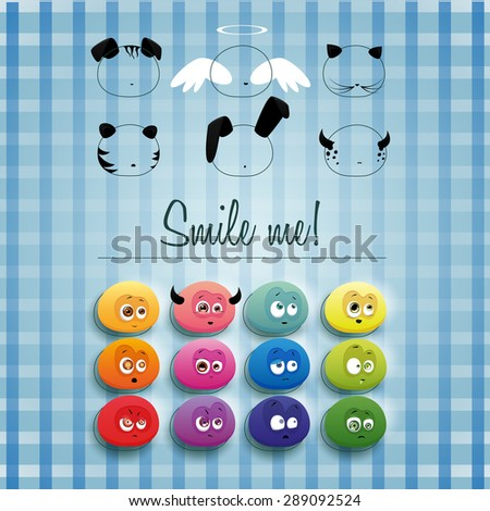 Set of multicolored smiles with the ability to create different images using ears, whiskers, noses, spots and stripes, wings, horns and halo - stock vector