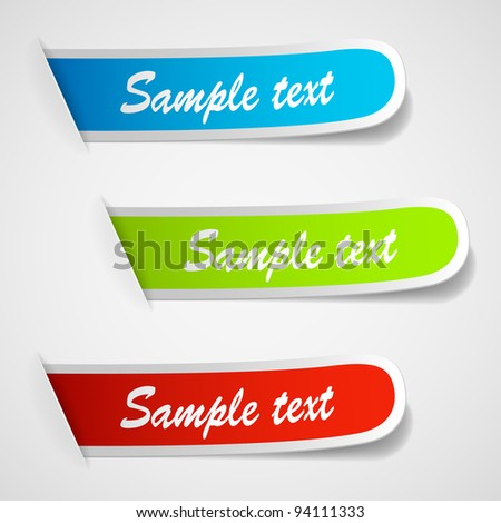 Set of multicolored sticker labels. Vector eps10 illustration