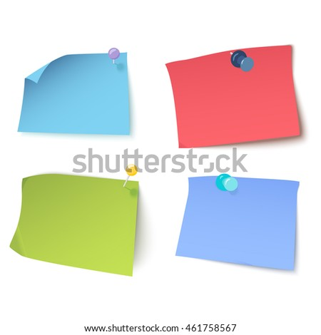 Set of multicolored stickers with pins and thumbtacks on white background. Sticky notes with curled corners. Pins stationery products. Isolated vector illustration.