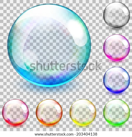 Set of multicolored transparent glass spheres on a plaid background - stock vector