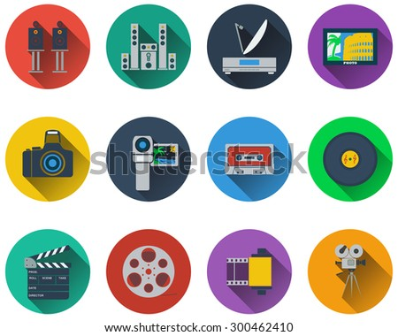 Set of multimedia icons in flat design - stock vector