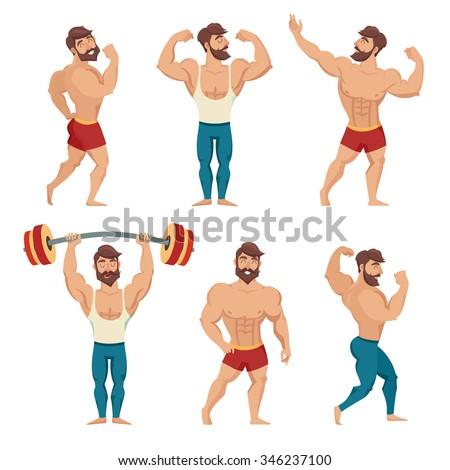 Set of muscular, bearded mans vector illustration. Fitness models, posing, bodybuilding. Isolated on white background - stock vector