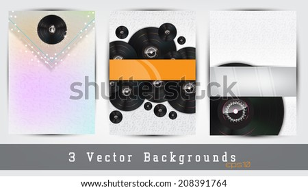 Set of 3 music backgrounds. Space for your text. (EPS10 Vector) - stock vector