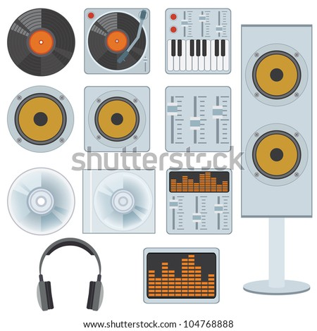 Set of music devices and equipment on the white background. - stock vector