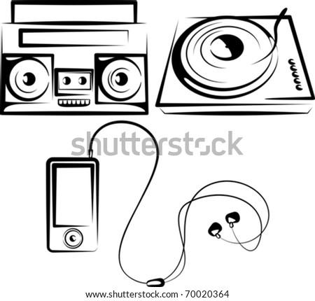 set of music equipment - stock vector