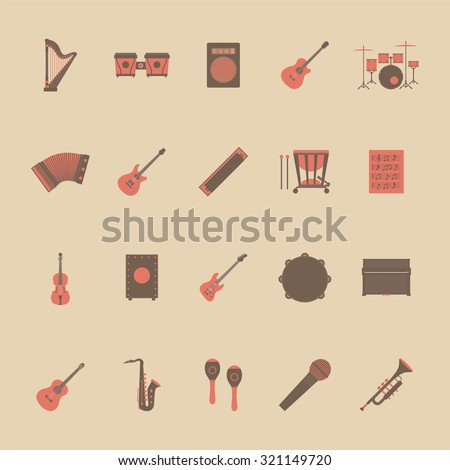 set of music icon, rock, acoustic, classical music, flat and retro style