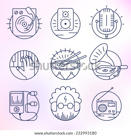 Set of music icons. - stock vector