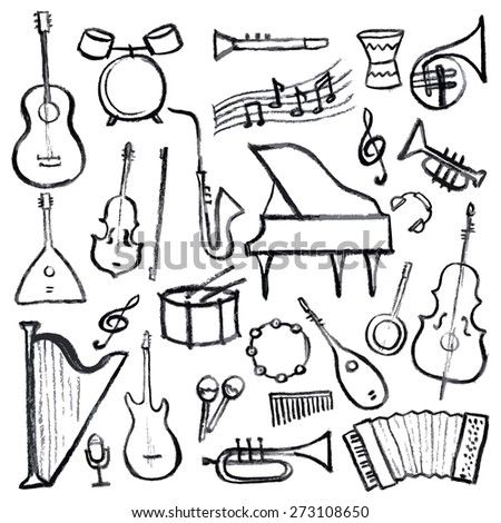 Set of music instruments hand drawn on a white background for your design. Vector illustration. - stock vector