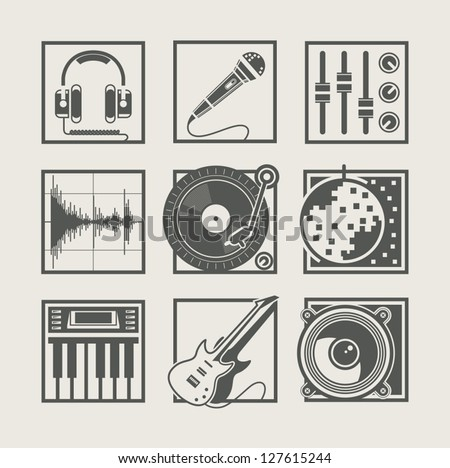 set of music instruments icons for disco party vector illustration. Vector Illustration. - stock vector