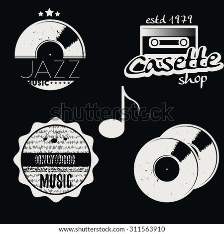 Set of music labels with some music elements: gramophone disk (record), sound key, sound waves, cassette, note. Vector illustration. - stock vector