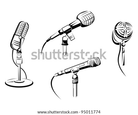 Set of music microphones isolated on white. Vector illustration - stock vector