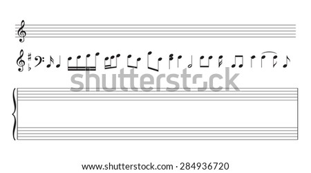 set of music notes and  staff - vector - stock vector