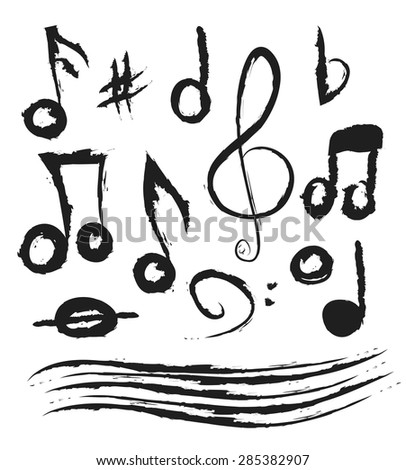 Set of music notes, doodle vector illustration