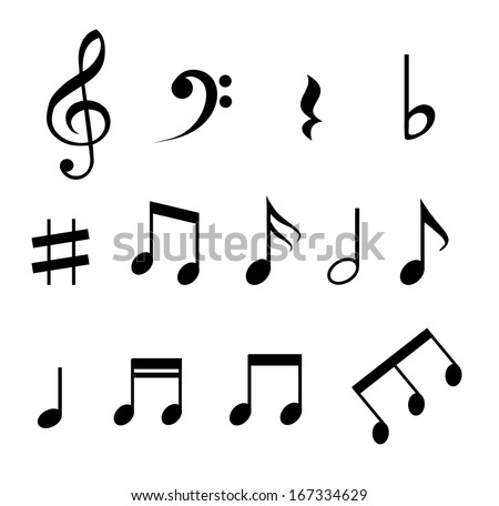 set music notes vector stock vector 167334629 shutterstock rh shutterstock com music note vector png music note vector image